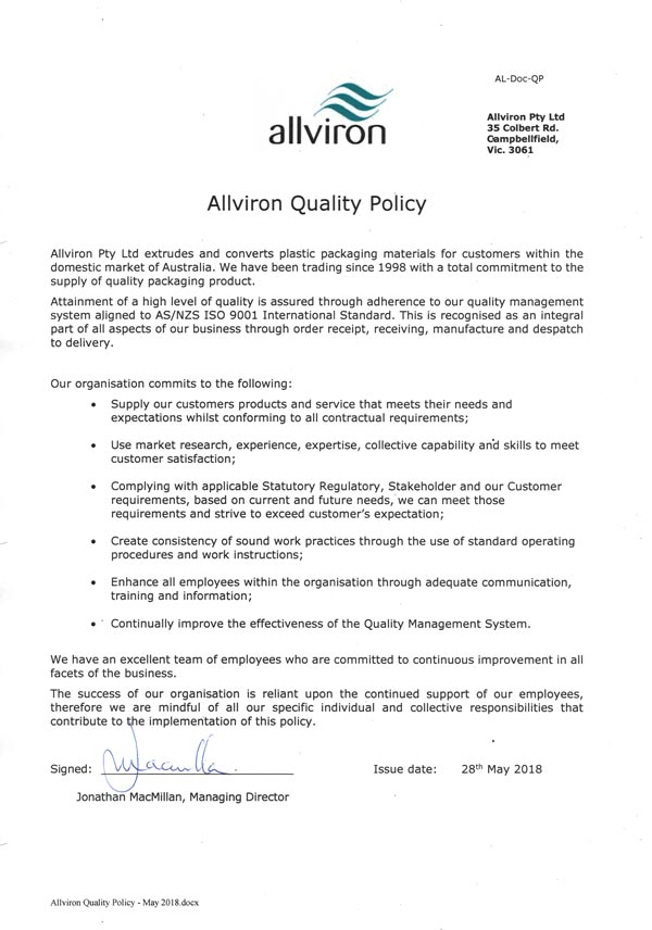 AllvironQualityPolicy May2018